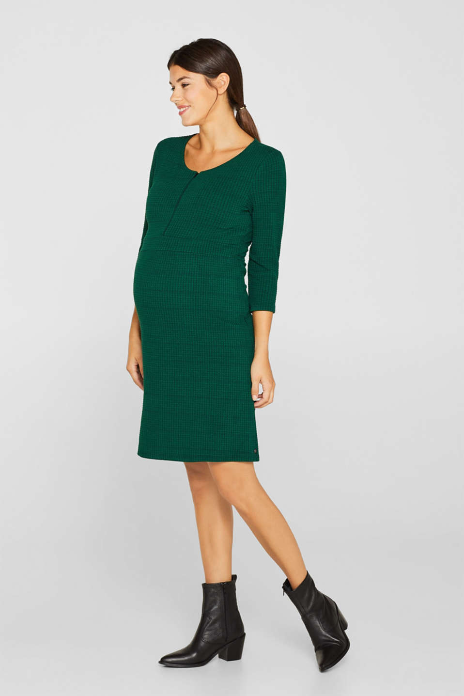 Textured dress with a nursing function, LCBOTTLE GREEN, detail image number 1