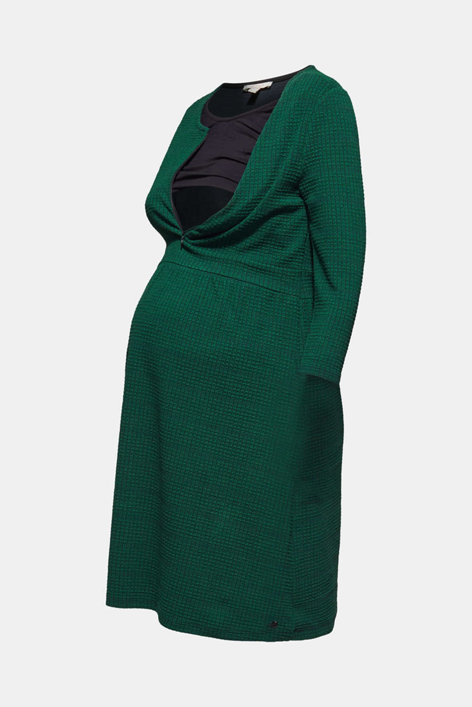 Textured dress with a nursing function, LCBOTTLE GREEN, detail image number 6
