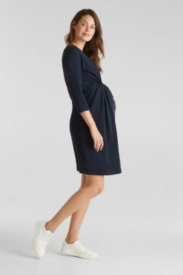 Draped jersey dress with stretch, NIGHT BLUE, detail