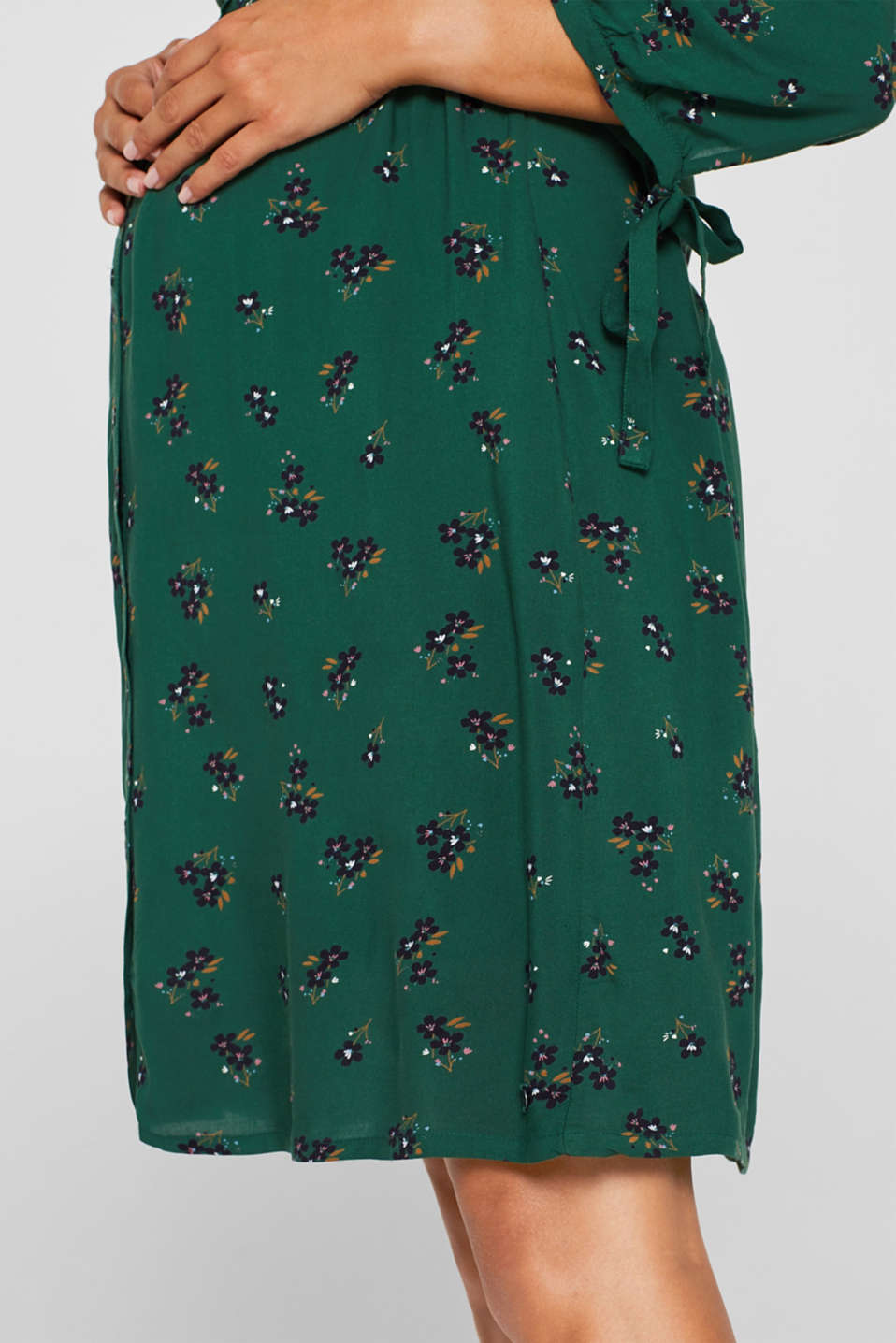 woven dress with a nursing function, LCBOTTLE GREEN, detail image number 2