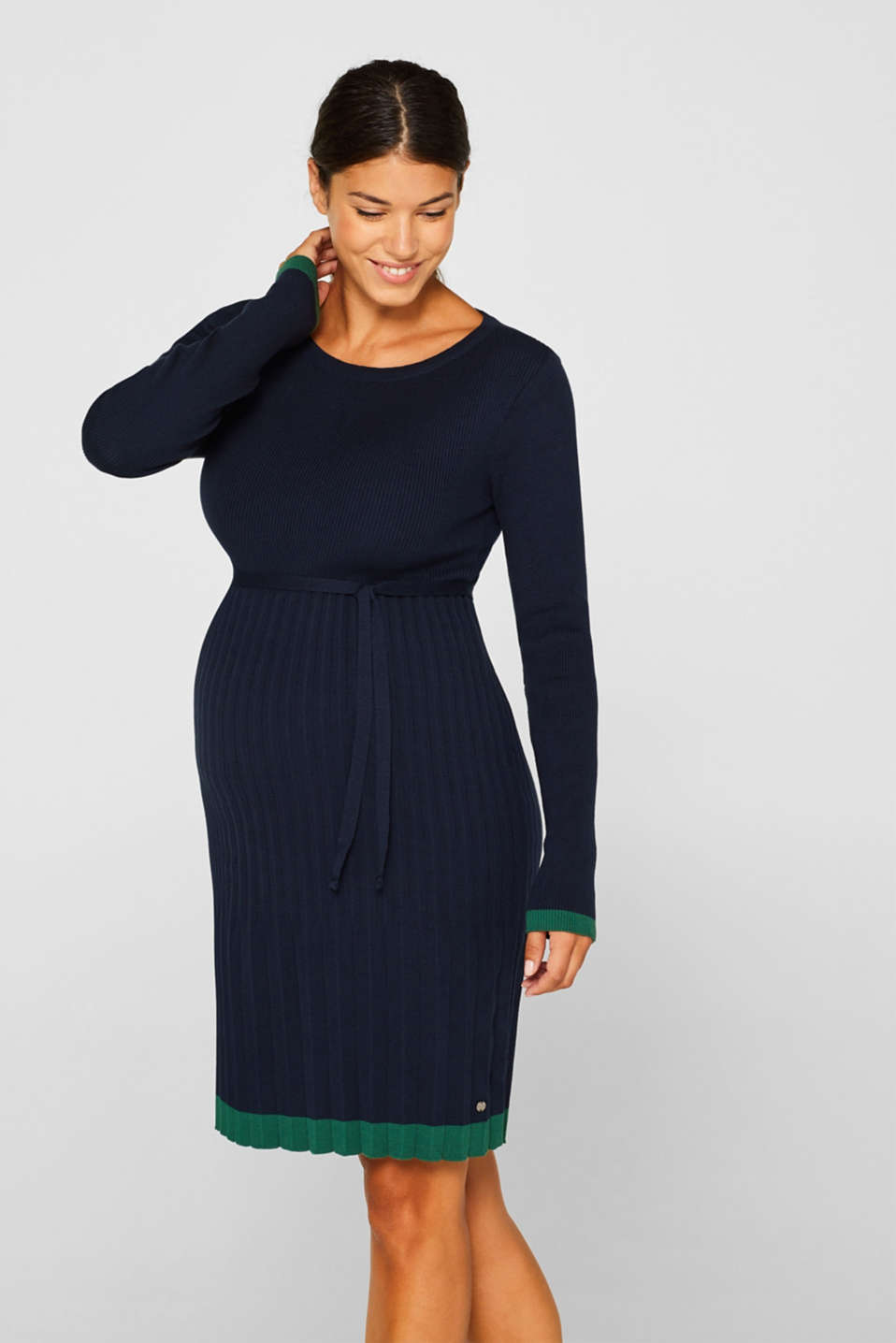 Knitted dress with a pleated skirt, LCNIGHT BLUE, detail image number 0