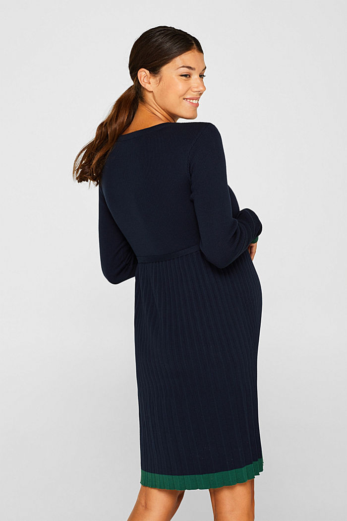 Knitted dress with a pleated skirt, NIGHT BLUE, detail image number 2
