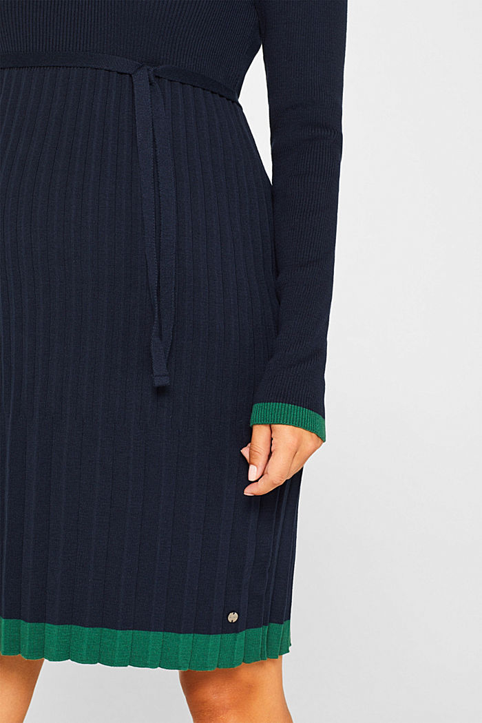 Knitted dress with a pleated skirt, NIGHT BLUE, detail image number 3