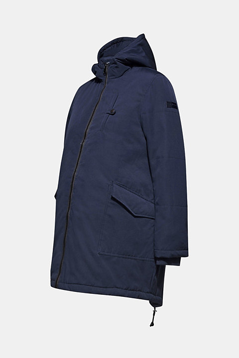 Padded outdoor jacket with a hood