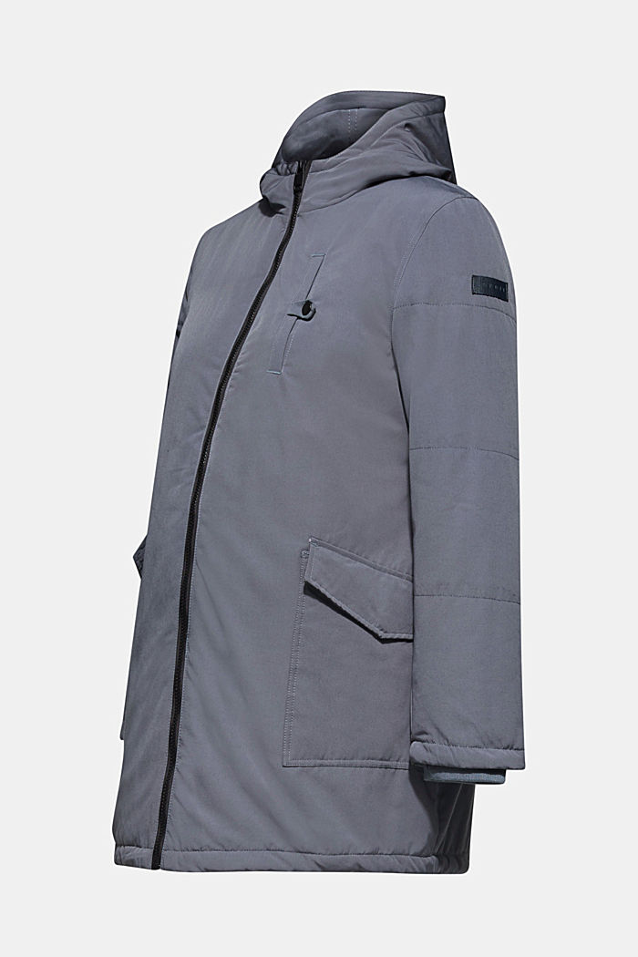 Padded outdoor jacket with a hood, MALADIVE BLUE, overview