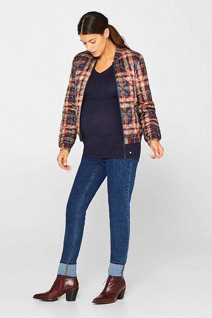 V-neck jumper, 100% cotton, LCNIGHT BLUE, detail image number 1
