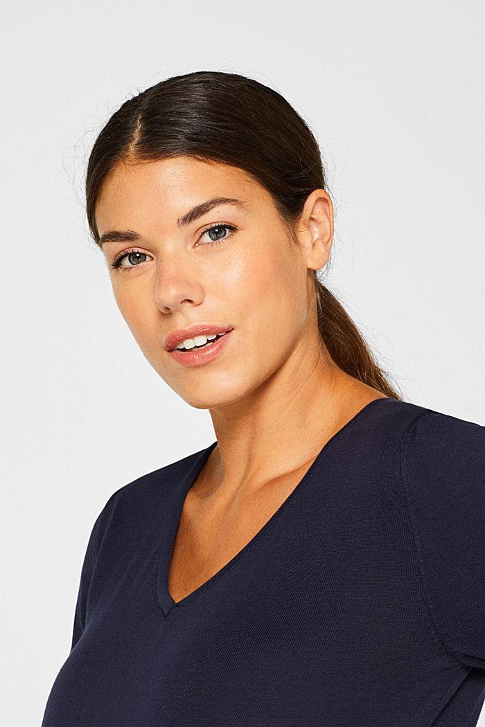 V-neck jumper, 100% cotton, LCNIGHT BLUE, detail image number 2