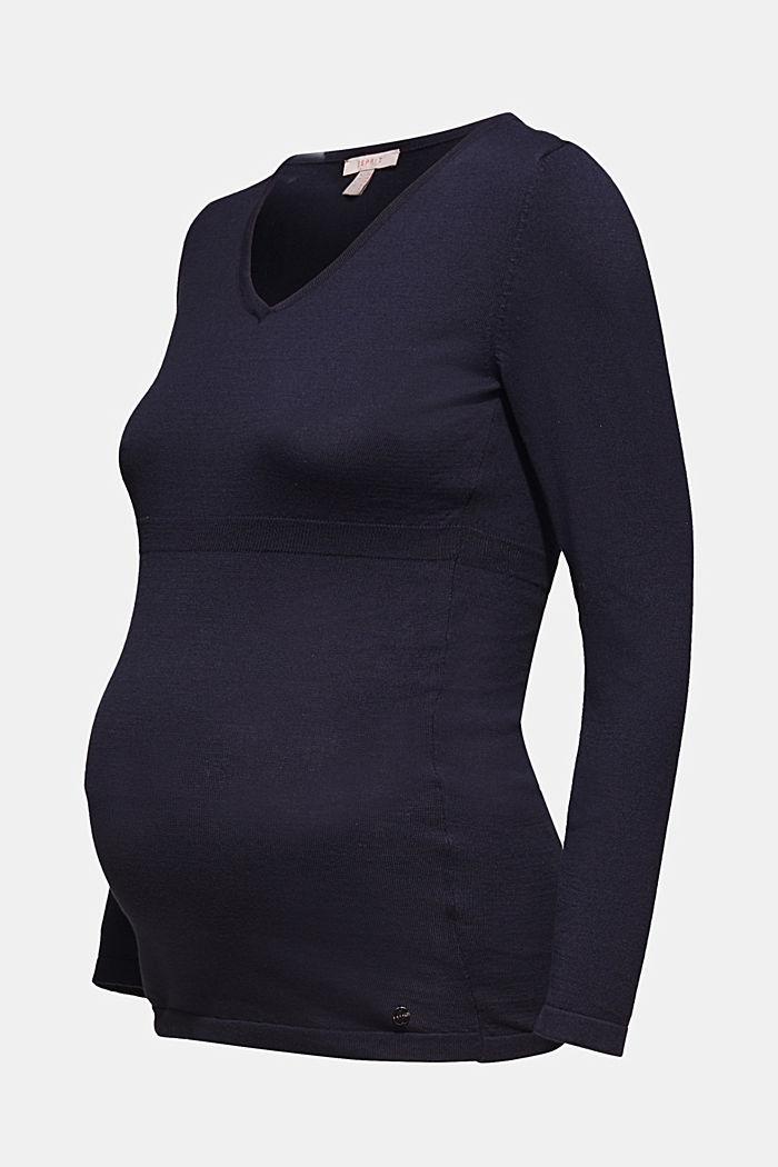 V-neck jumper, 100% cotton, LCNIGHT BLUE, detail image number 5