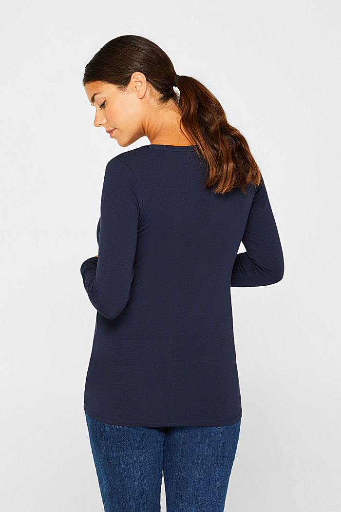 Stretch long sleeve top with a print, NIGHT BLUE, detail image number 3
