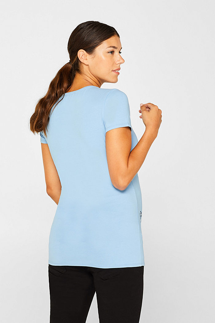 Stretch T-shirt with a print, LIGHT BLUE, detail image number 3
