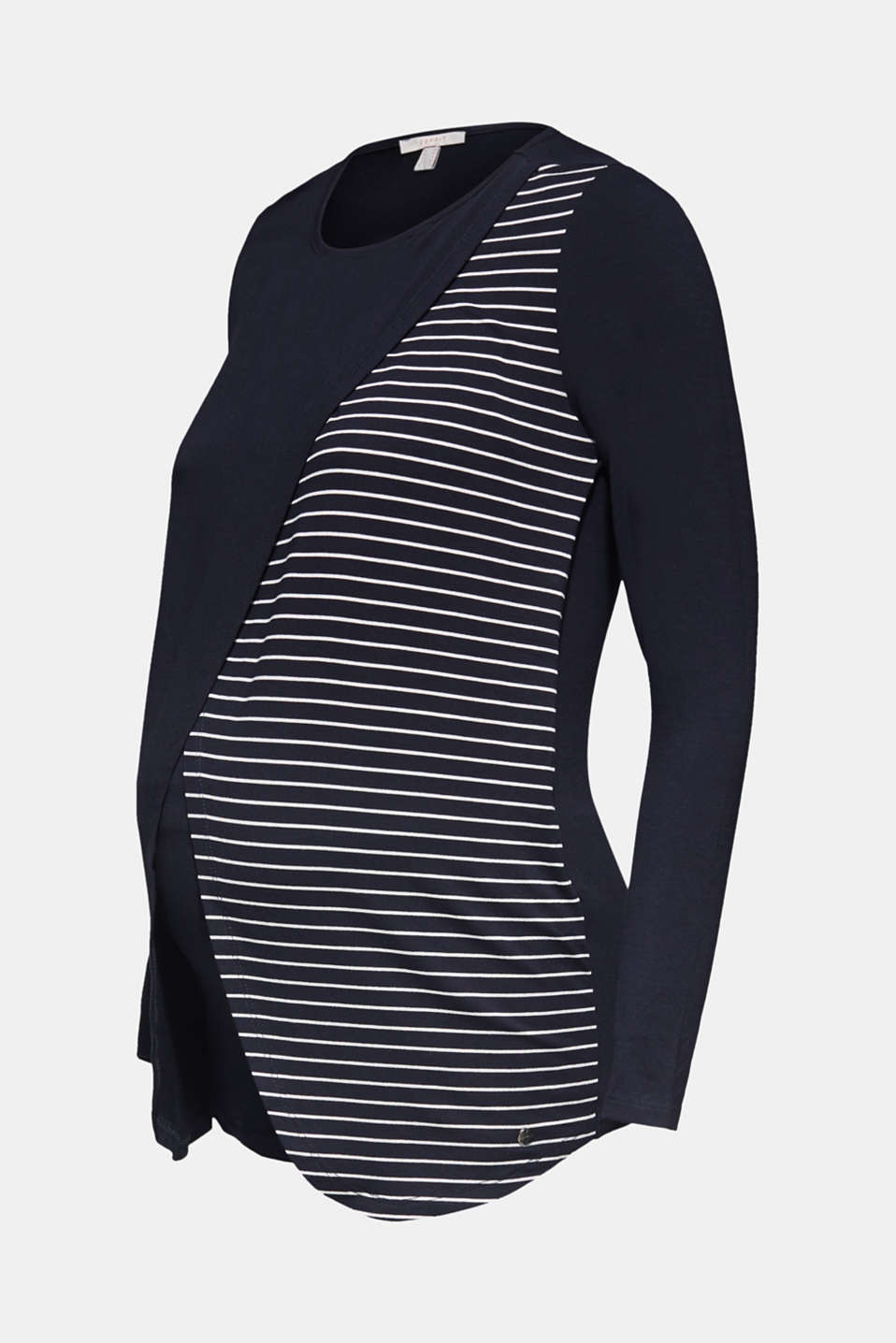 Stretch long sleeve nursing top, LCNIGHT BLUE, detail image number 6