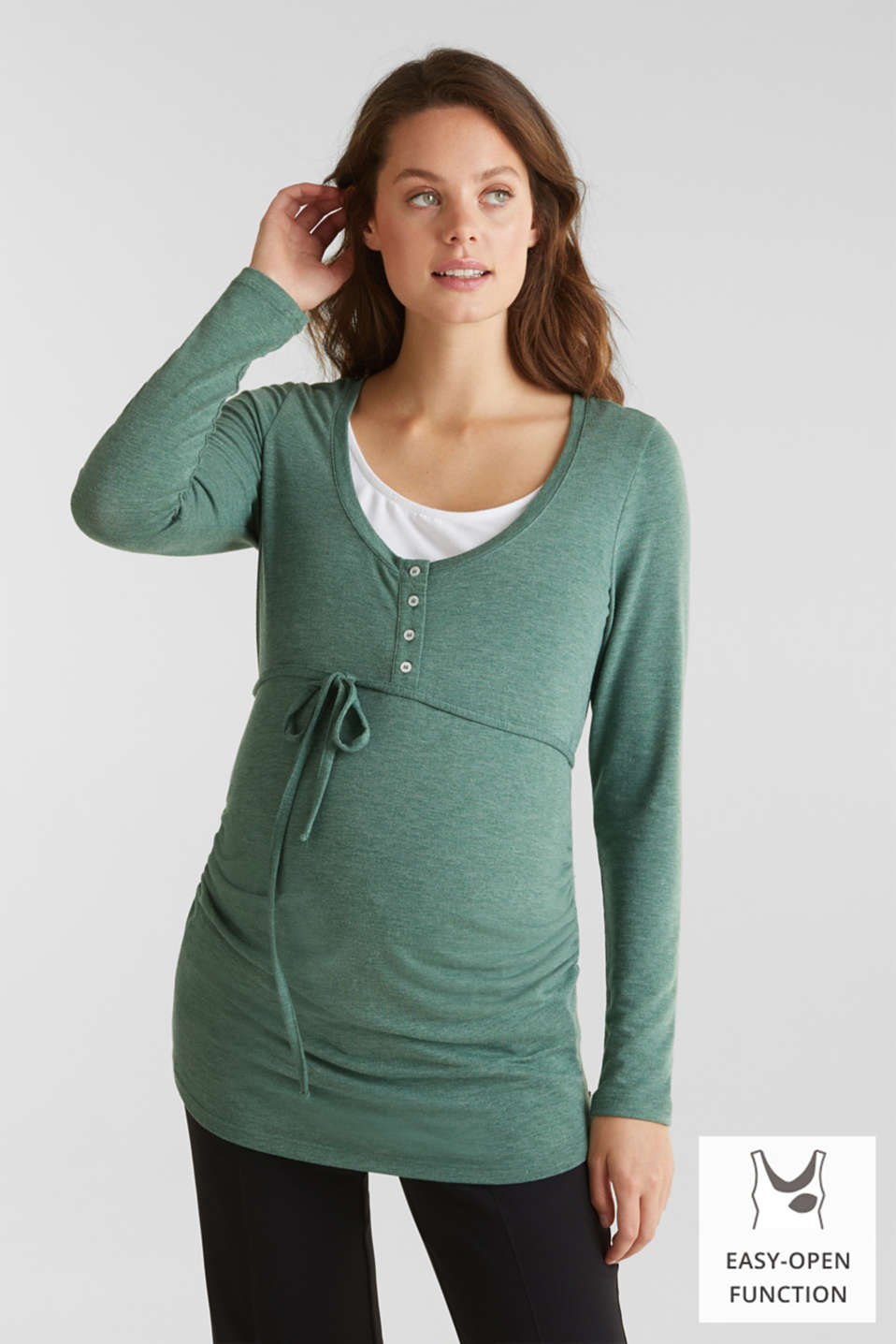 Stretch long sleeve nursing top, LCBOTTLE GREEN, detail image number 0