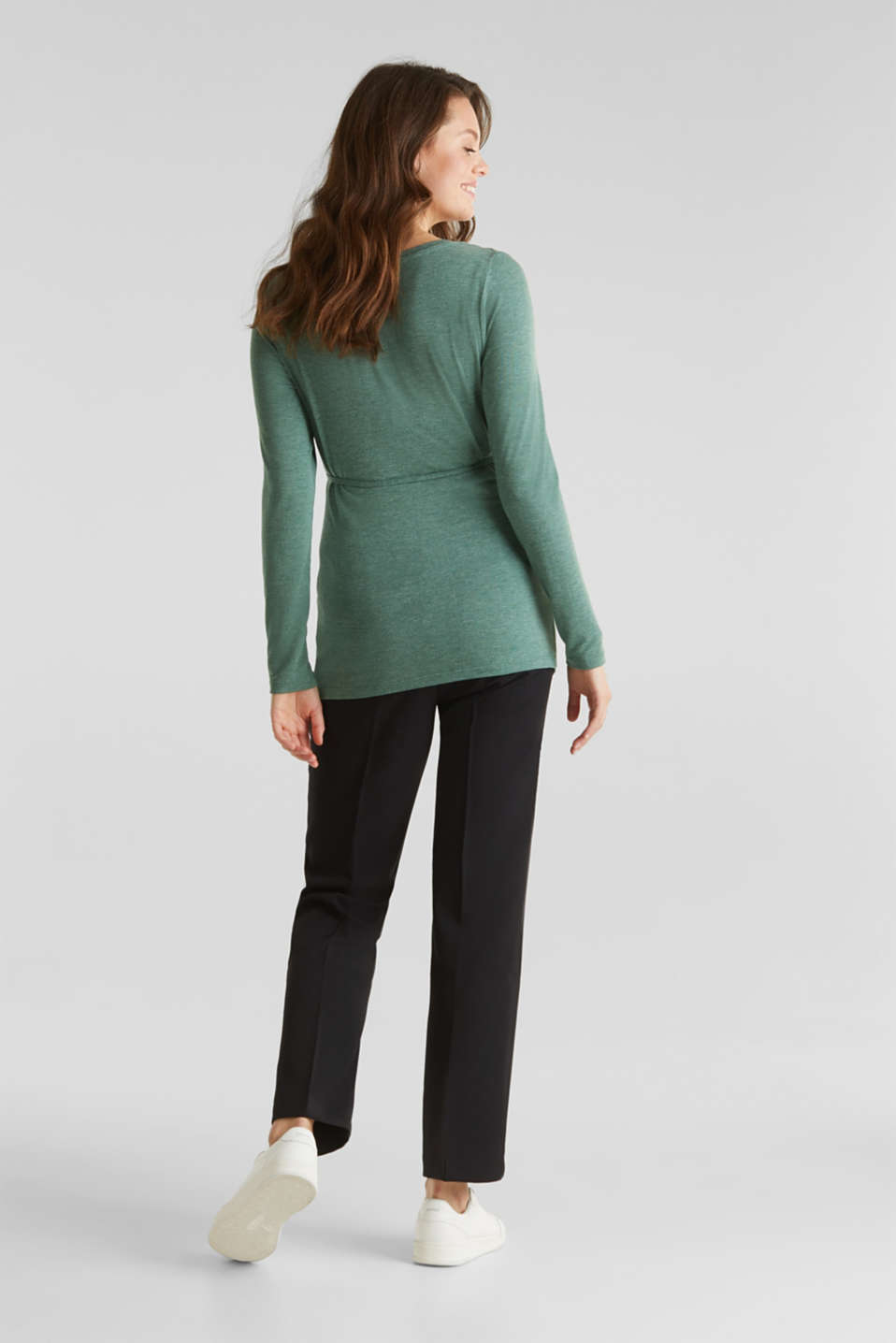 Stretch long sleeve nursing top, LCBOTTLE GREEN, detail image number 3