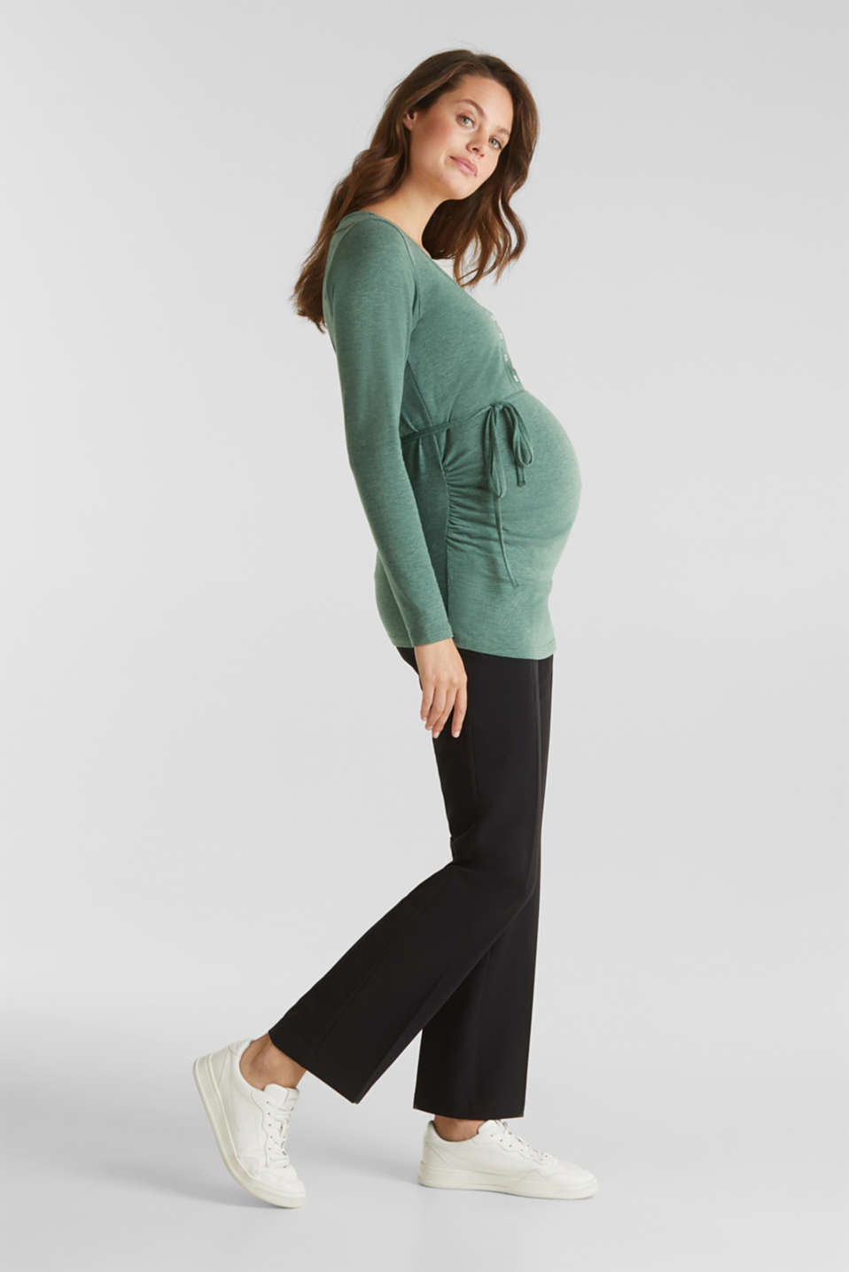 Stretch long sleeve nursing top, LCBOTTLE GREEN, detail