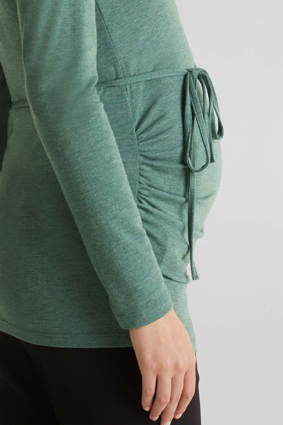 Stretch long sleeve nursing top, LCBOTTLE GREEN, detail image number 5