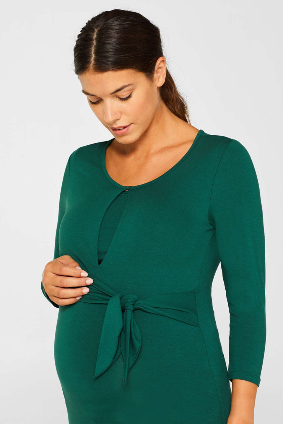 Stretchy nursing top, LCBOTTLE GREEN, detail image number 0