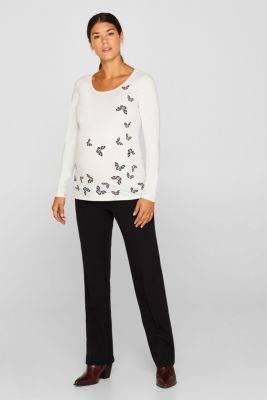 Stretch long sleeve top with a print, LCOFF WHITE, detail