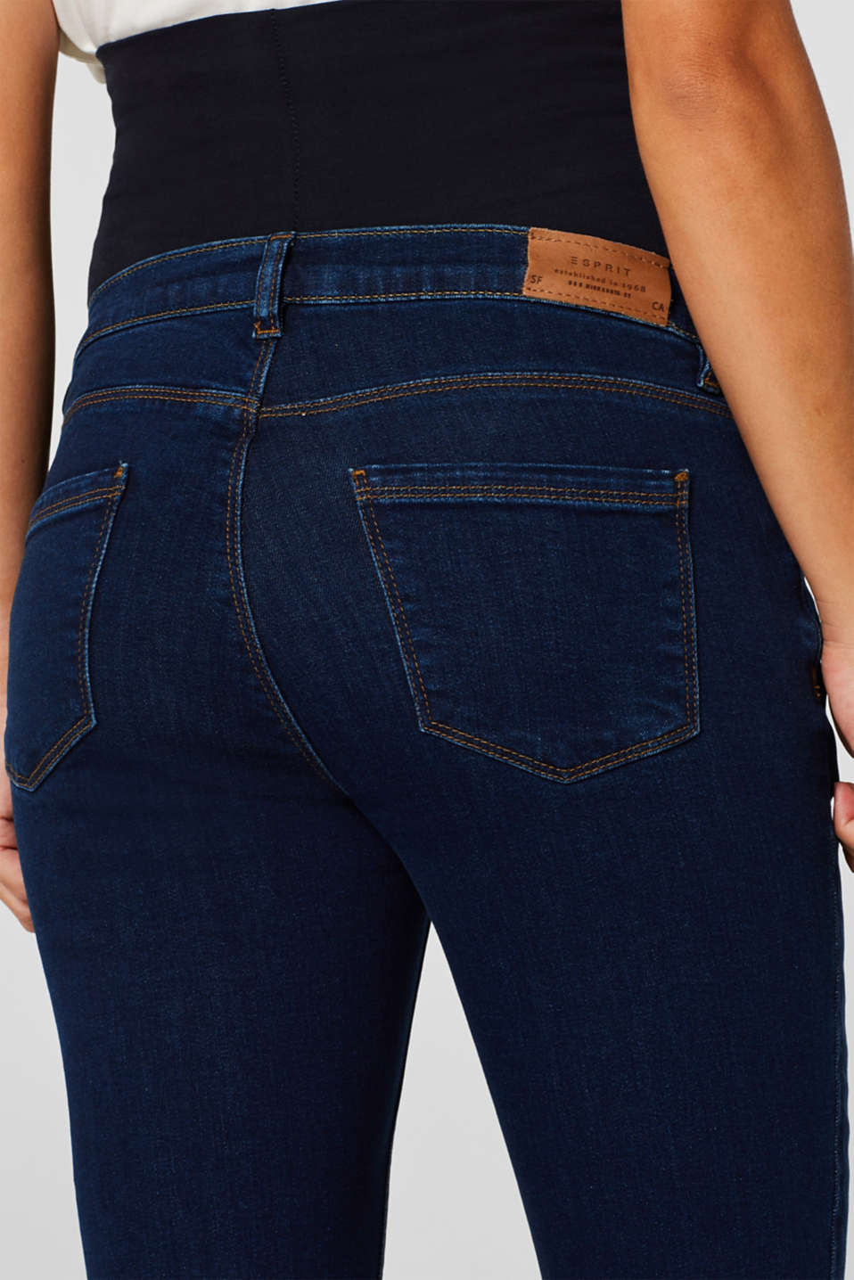 Stretch jeans with an over-bump waistband, LCDARKWASH, detail image number 1