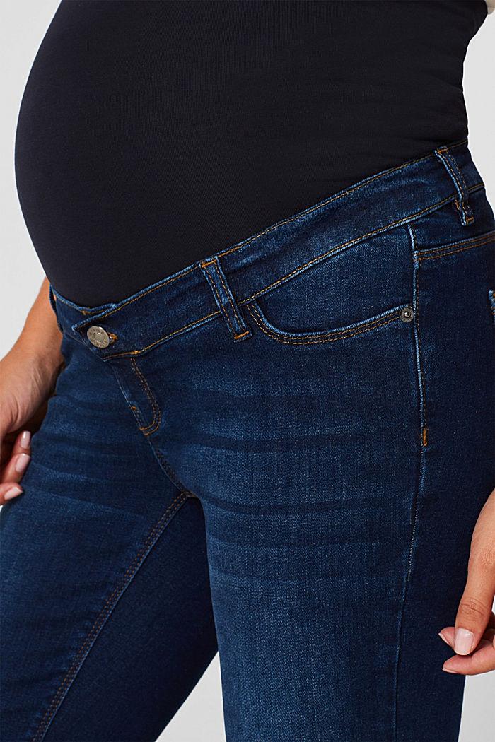 Stretch-Jeans mit Überbauchbund, BLUE DARK WASHED, detail image number 4