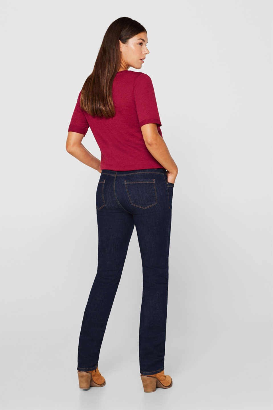 Super stretchy jeans with over-the-bump waistband, LCDARKWASH, detail image number 3