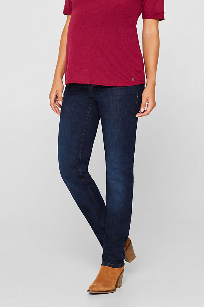 Super stretchy jeans with over-the-bump waistband, BLUE DARK WASHED, detail image number 6