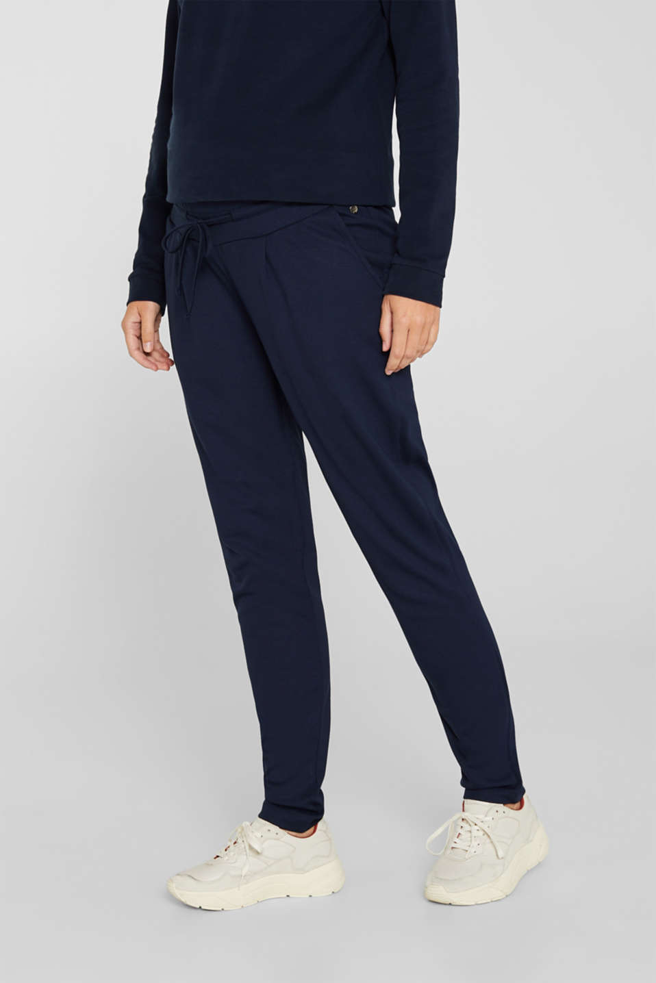 Esprit - Stretch jersey trousers with under-bump waistband