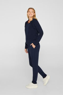Stretch jersey trousers with under-bump waistband, LCNIGHT BLUE, detail