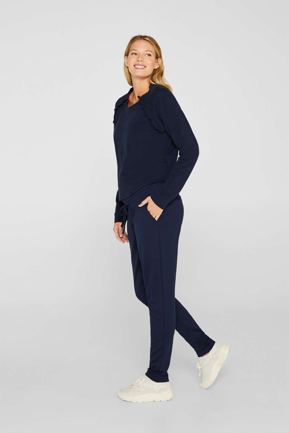 Stretch jersey trousers with under-bump waistband, LCNIGHT BLUE, detail image number 1