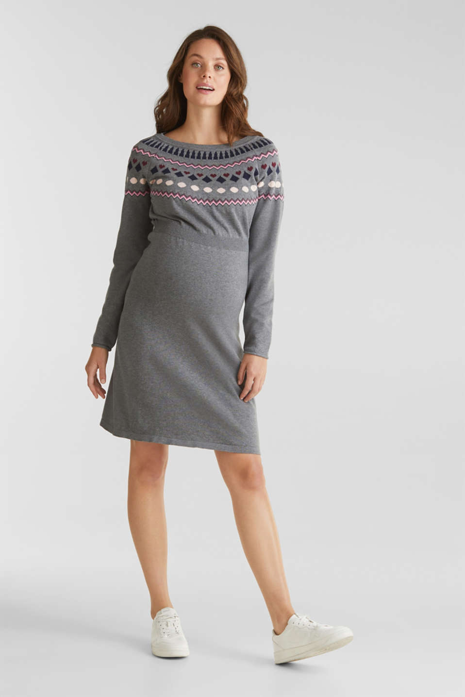 Knit dress with a jacquard pattern, LCMEDIUM GREY ME, detail image number 0