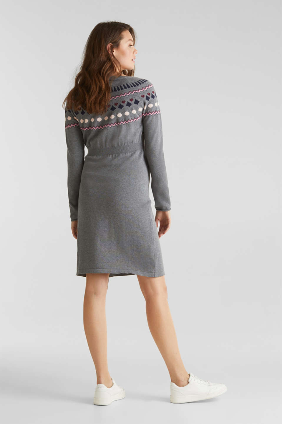 Knit dress with a jacquard pattern, LCMEDIUM GREY ME, detail image number 2
