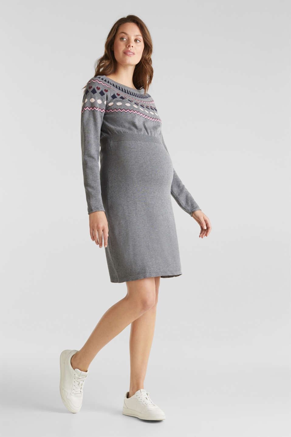 Knit dress with a jacquard pattern, LCMEDIUM GREY ME, detail image number 1