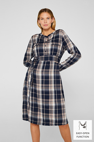 Glittering flannel dress with a nursing function