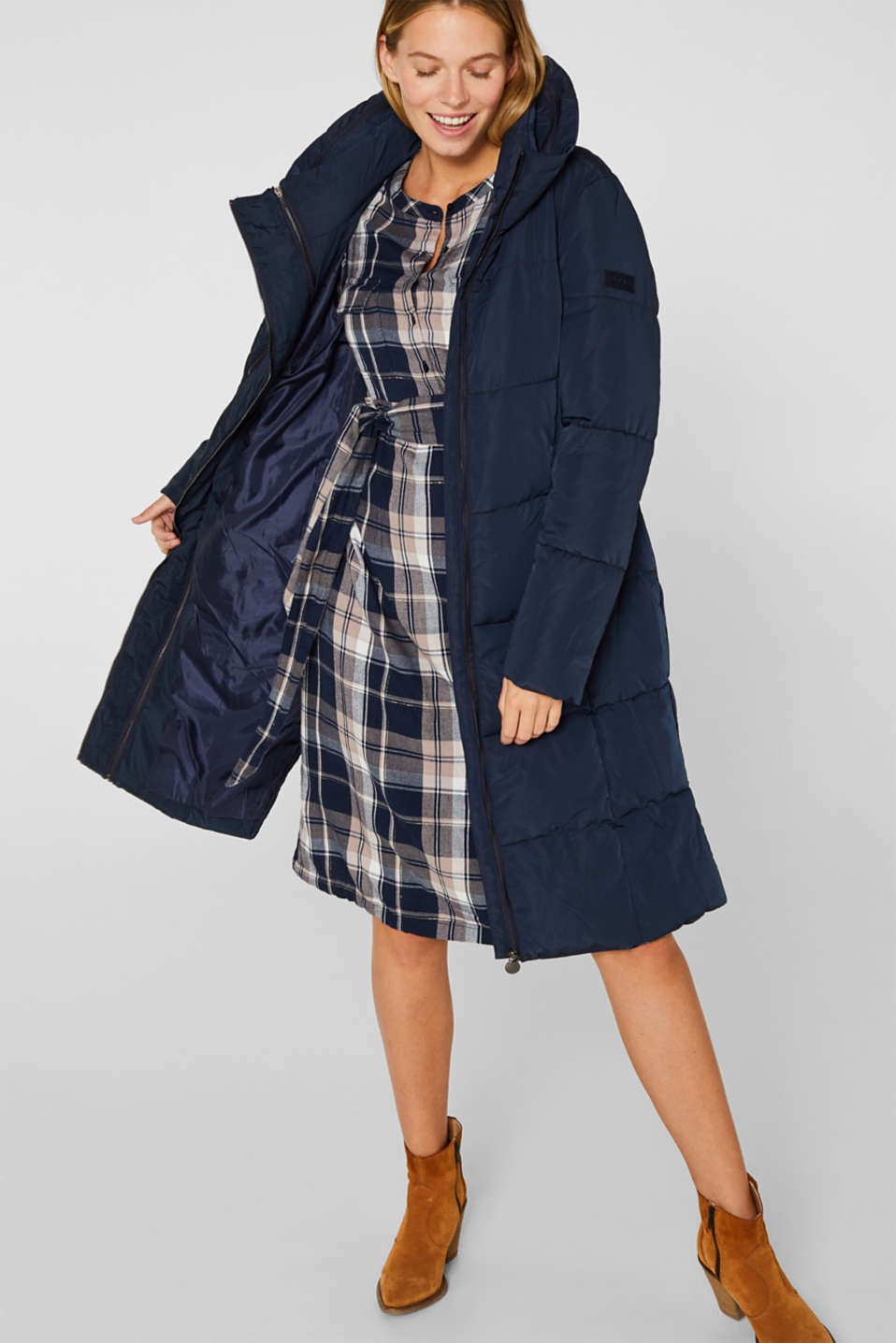 Glittering flannel dress with a nursing function, LCNIGHT BLUE, detail image number 1