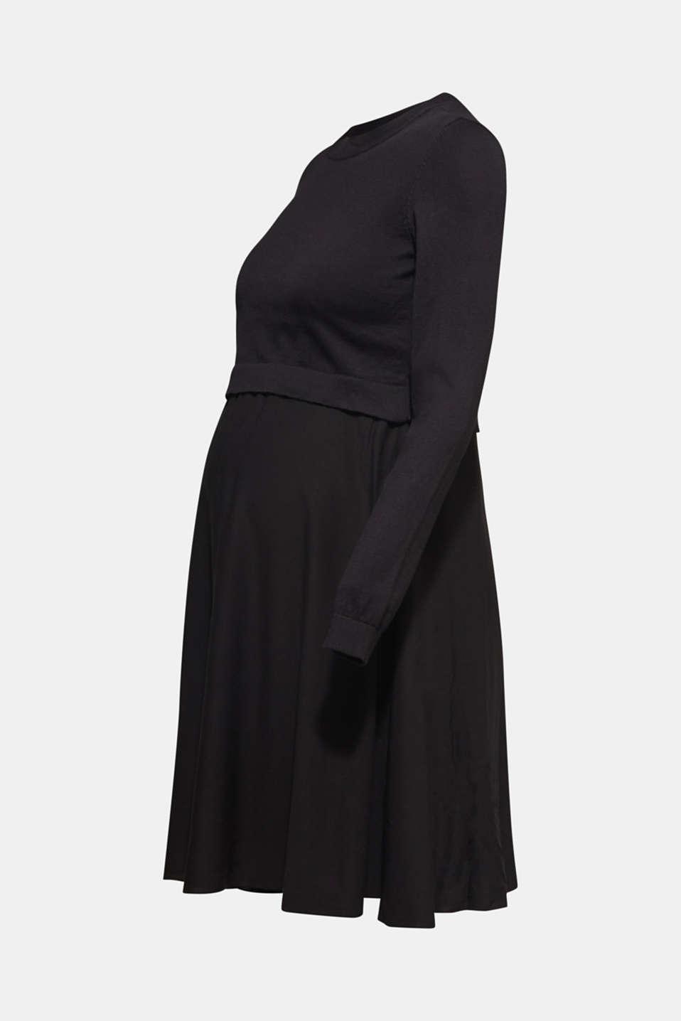 Mixed material nursing dress, LCBLACK, detail image number 7