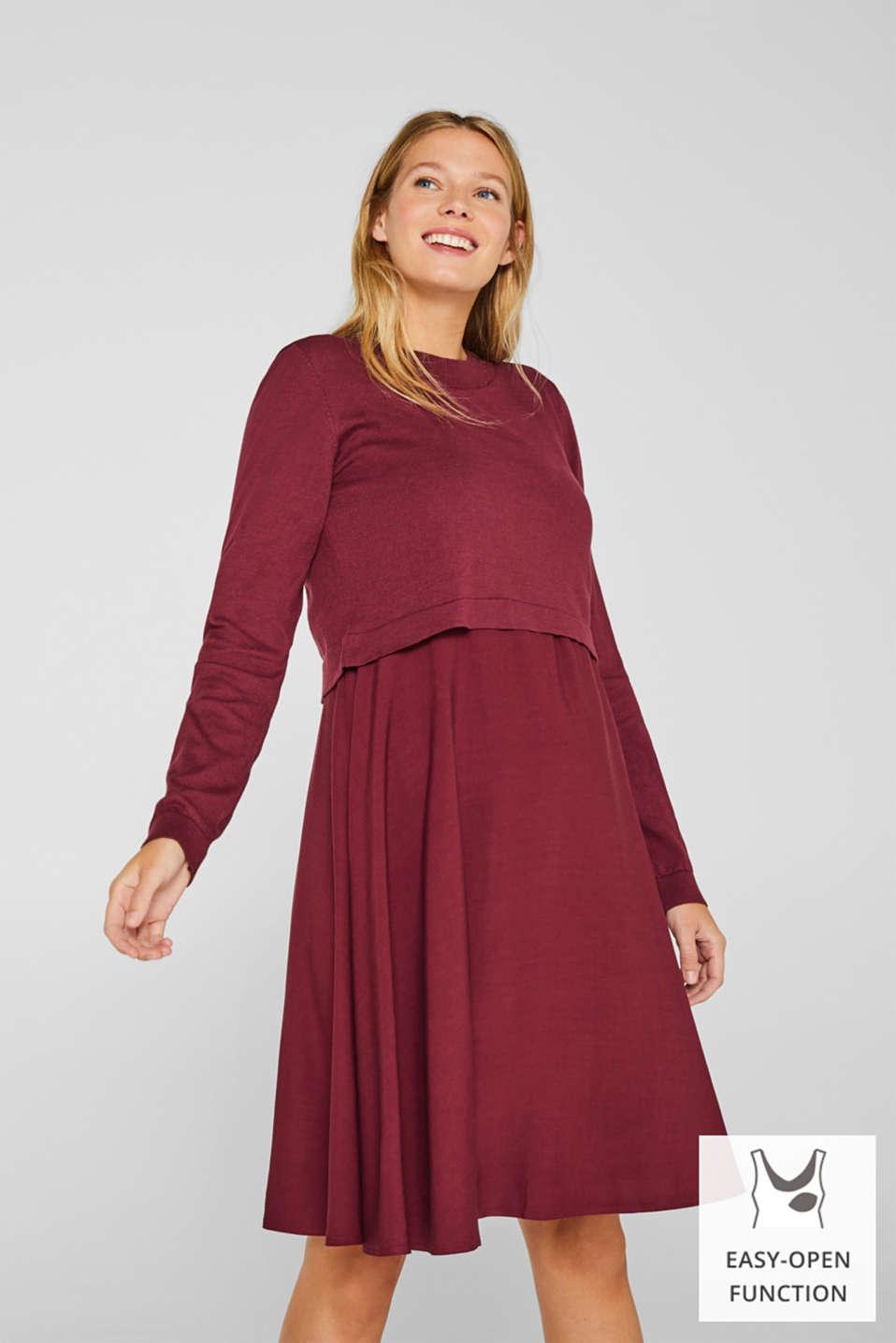 Mixed material nursing dress, LCGARNET RED, detail image number 0