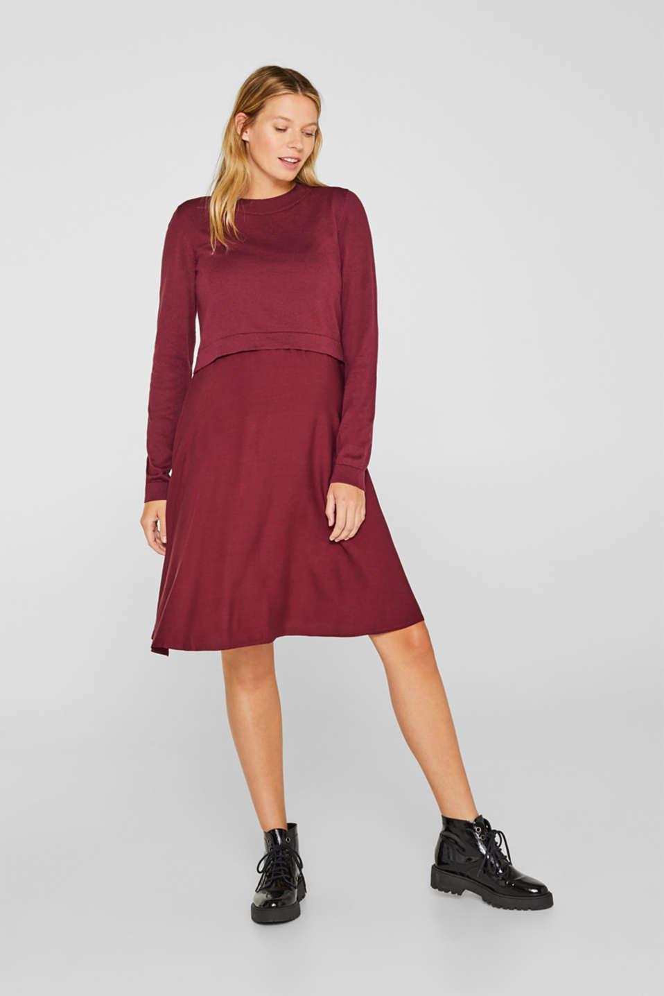 Mixed material nursing dress, LCGARNET RED, detail image number 1