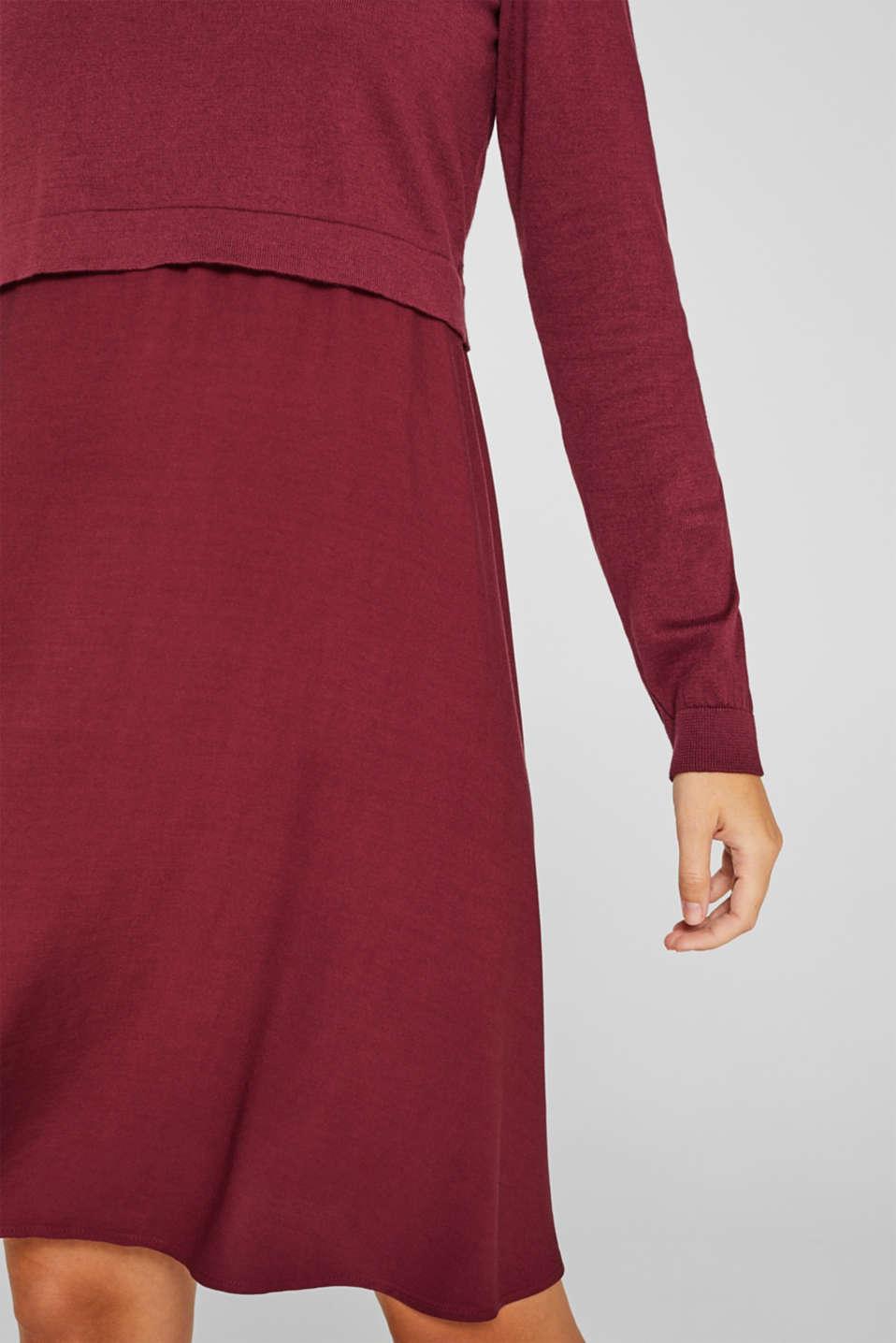 Mixed material nursing dress, LCGARNET RED, detail image number 3