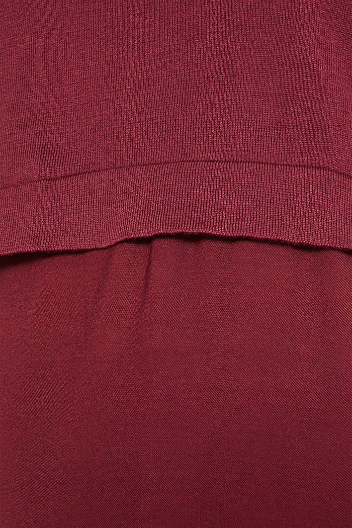 Material-Mix-Kleid mit Stillfunktion, GARNET RED, detail image number 4