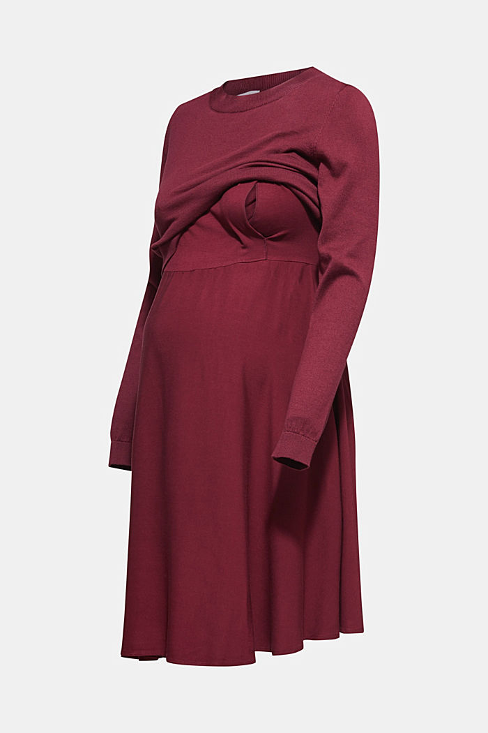 Material-Mix-Kleid mit Stillfunktion, GARNET RED, detail image number 6