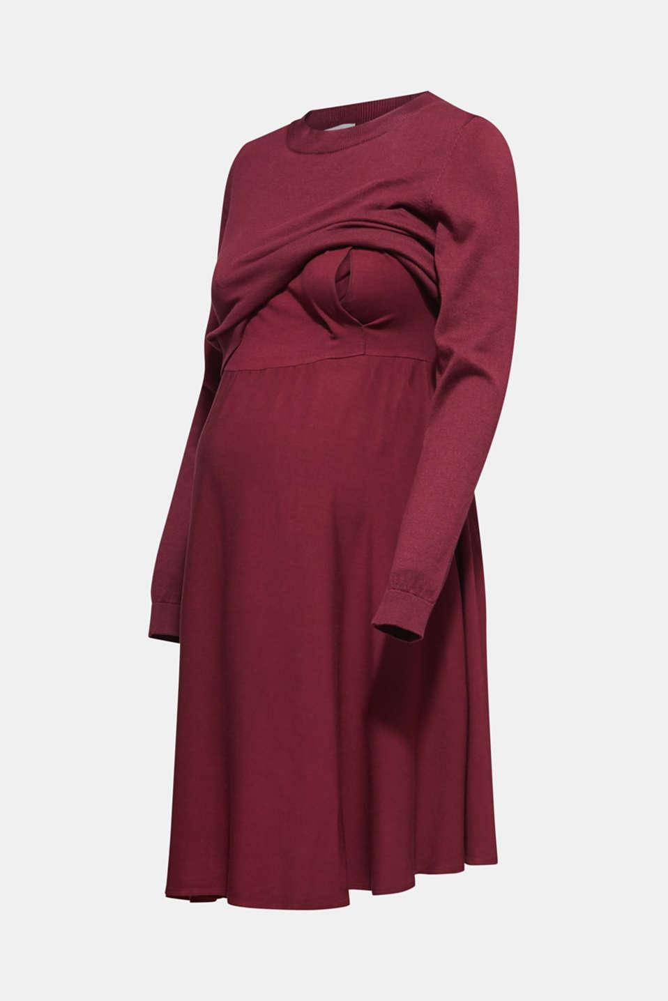 Mixed material nursing dress, LCGARNET RED, detail image number 6