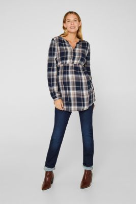 Flannel blouse with a glitter effect, LCNIGHT BLUE, detail