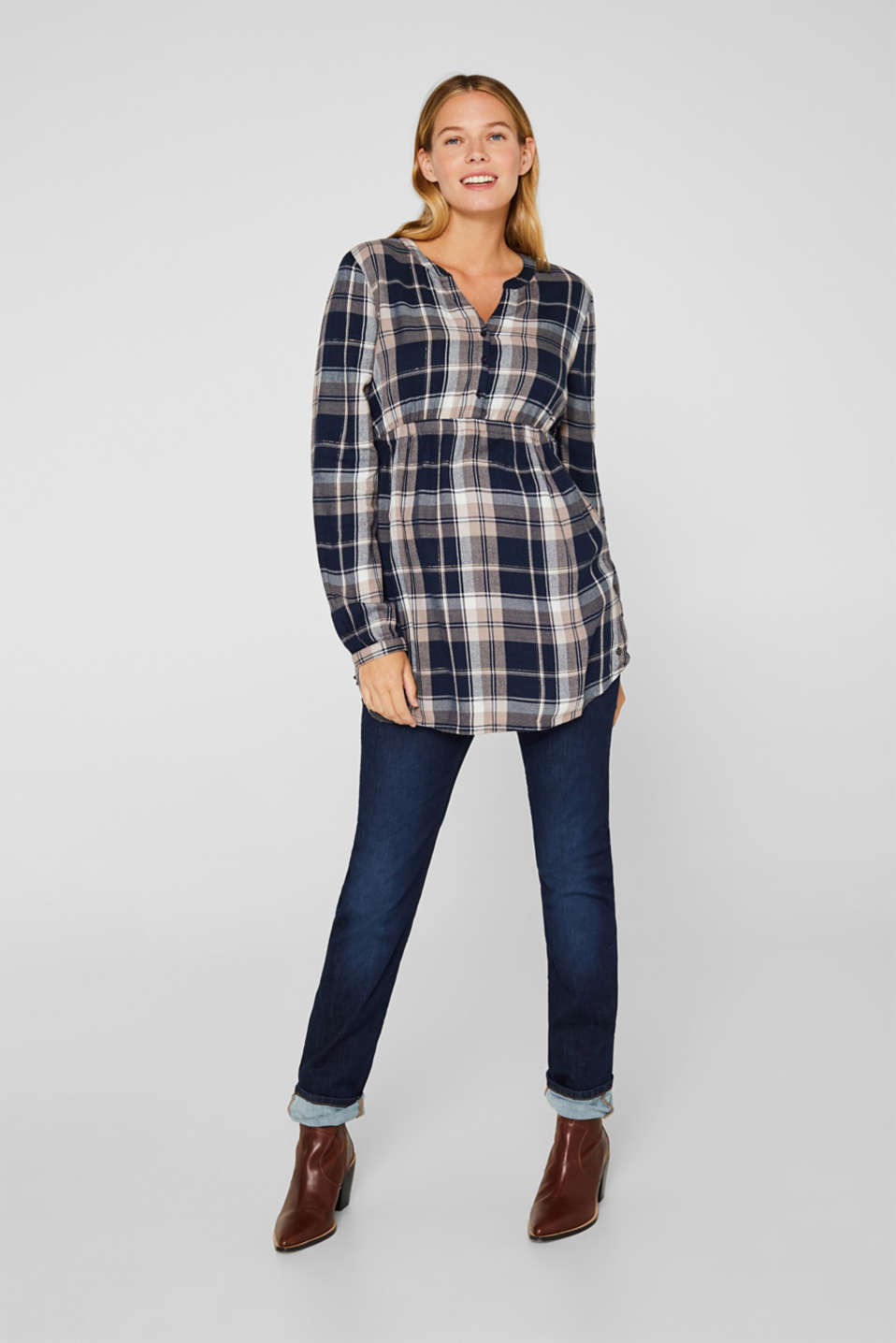 Flannel blouse with a glitter effect, LCNIGHT BLUE, detail image number 1