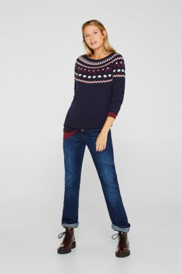 Jumper with a jacquard pattern, 100% cotton, LCNIGHT BLUE, detail