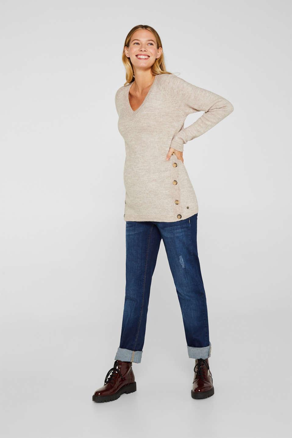 Melange jumper with button plackets, LCCAMEL, detail image number 5