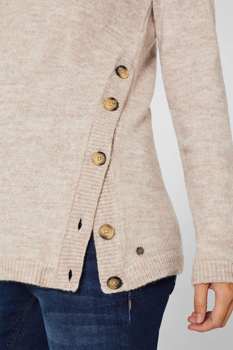 Melange jumper with button plackets, LCCAMEL, detail image number 2