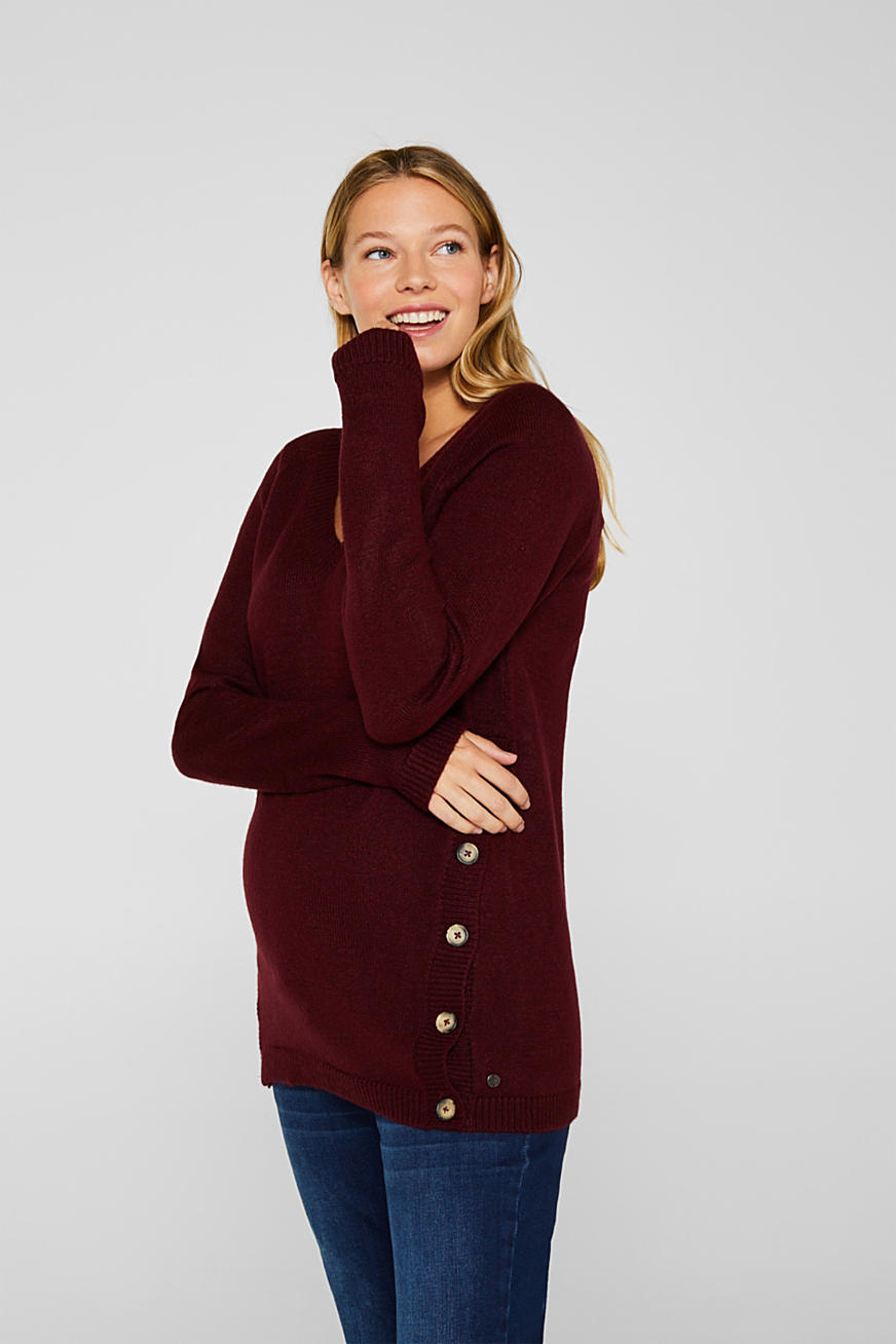 Melange jumper with button plackets