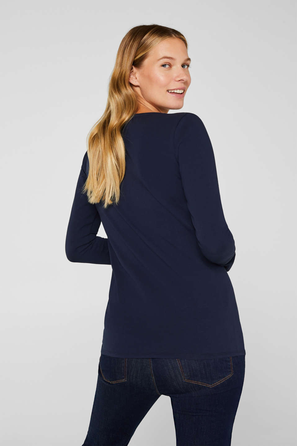 Stretchy long sleeve top with a heart print, LCNIGHT BLUE, detail image number 3