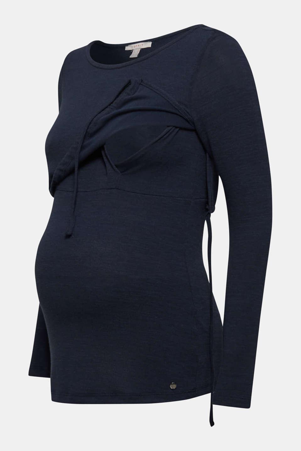 Layered long sleeve nursing top, LCNIGHT BLUE, detail image number 5