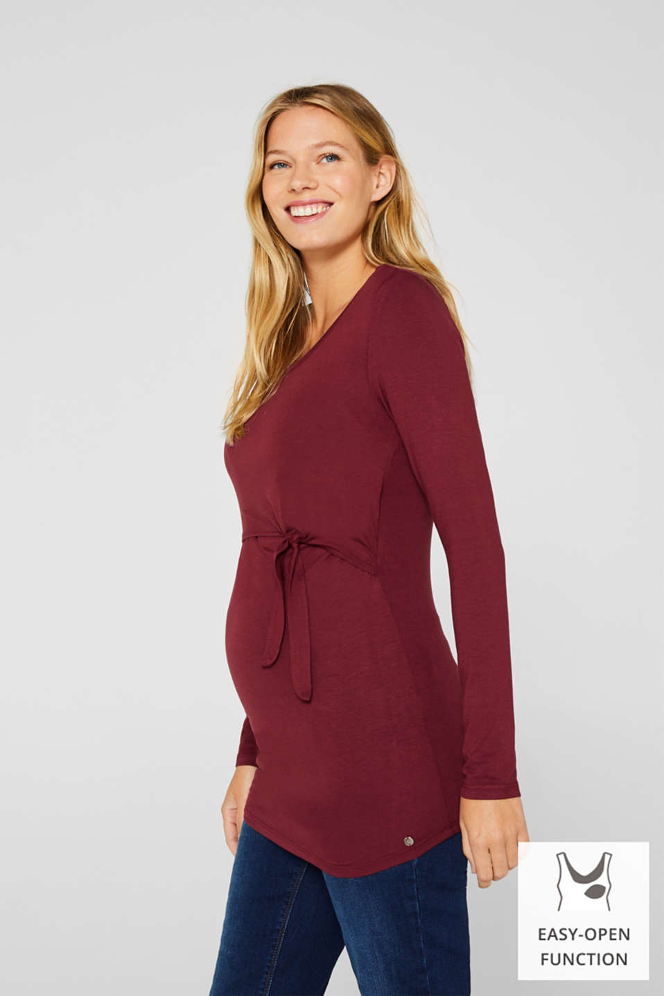 Stretch long sleeve nursing top, LCGARNET RED, detail image number 0