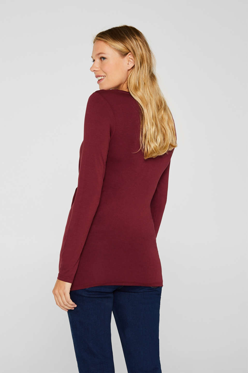Stretch long sleeve nursing top, LCGARNET RED, detail image number 3